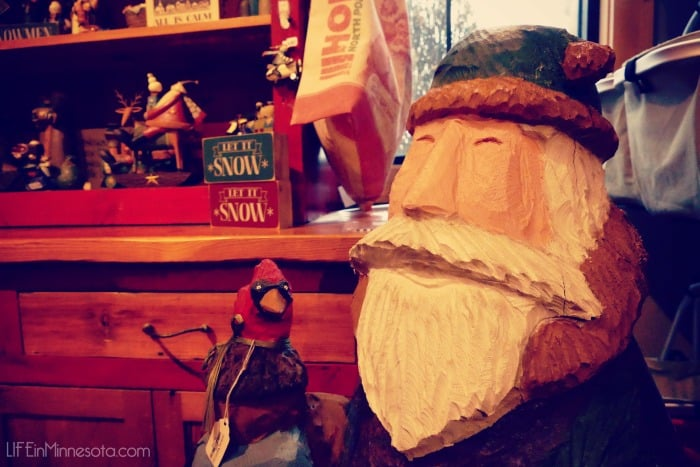 santa wood carving large made in mn the woods shop holiday gifts