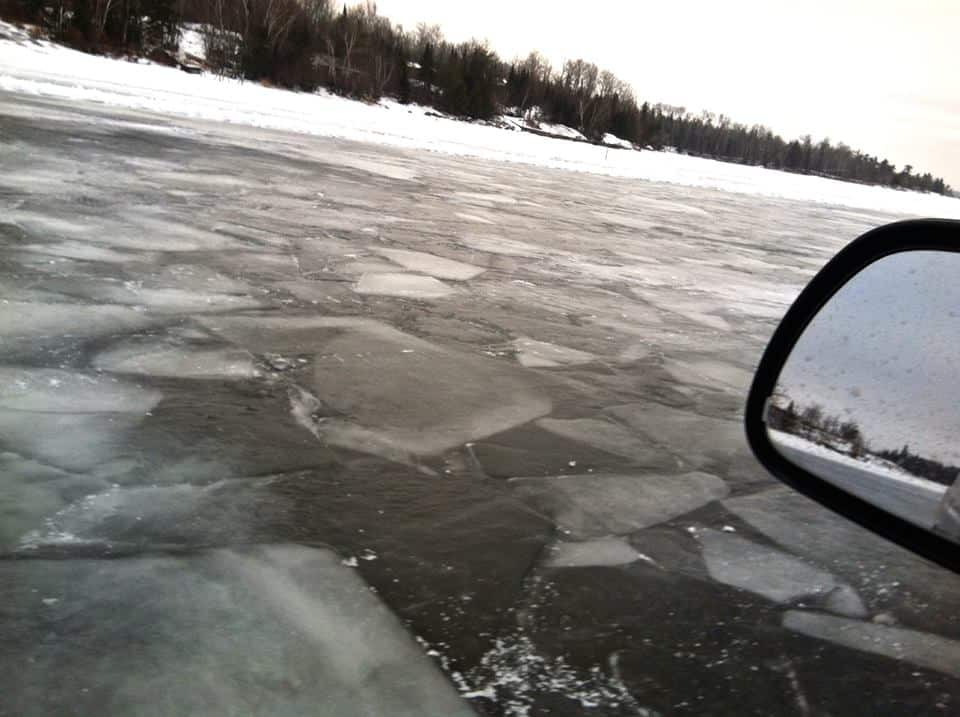 Traveling the ice road from Youngs Bay, Angle Inlet, Mn. to  Flag Island, Lake of the Woods. Sent In By: Lori Gustafson 12/19/2014