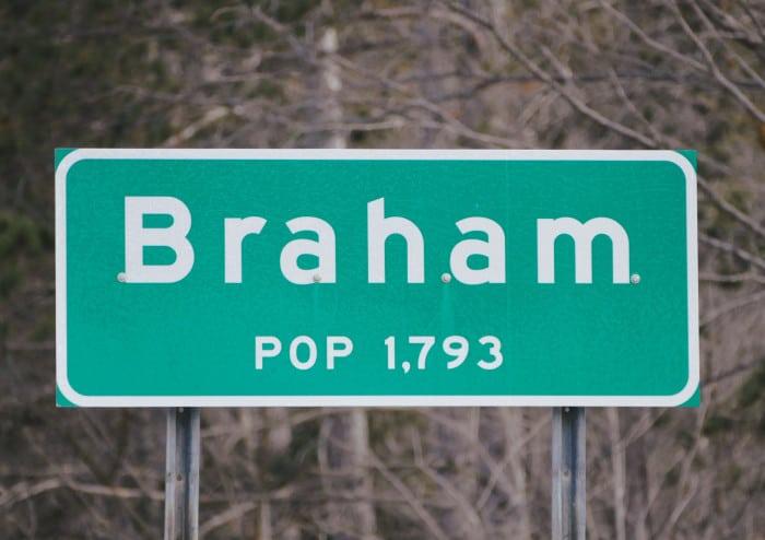 braham road sign