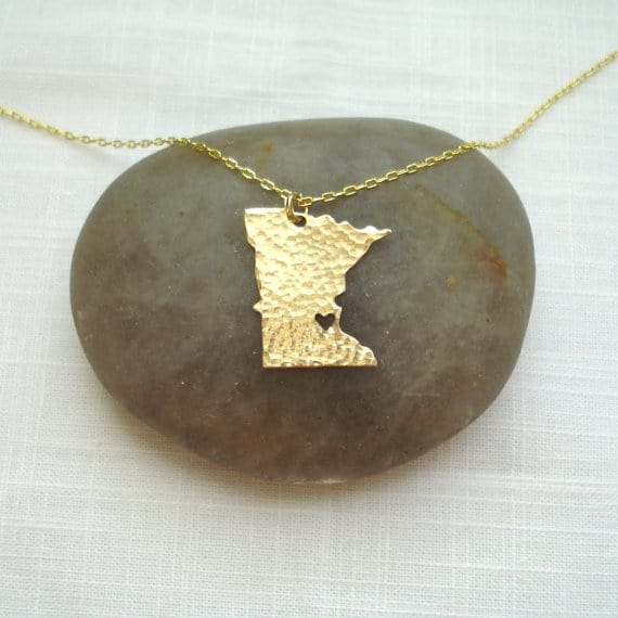 Gold Minnesota State Necklace - I Heart Minneapolis Necklace - Gold Minnesota Necklace