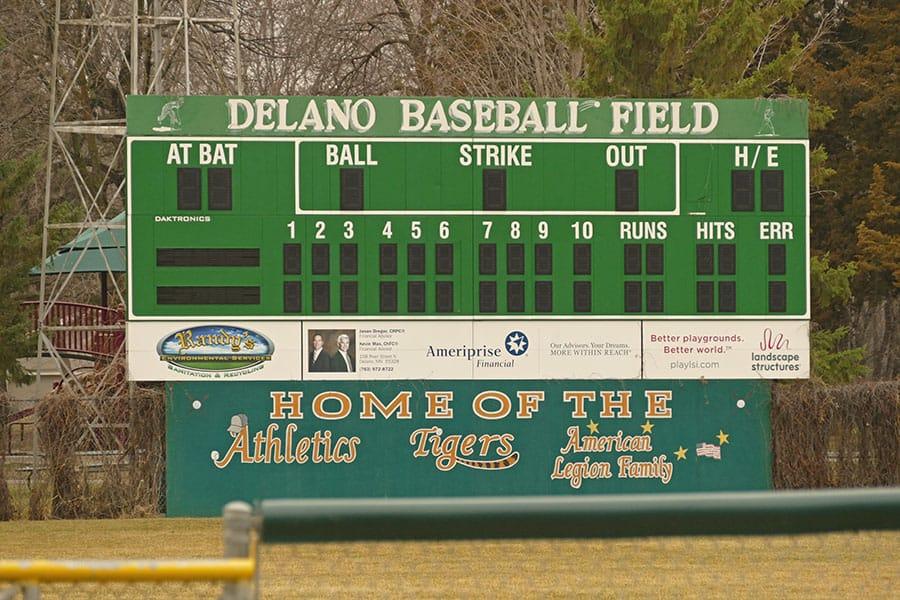 Delano Municipal Baseball Park scoreboard mn best field