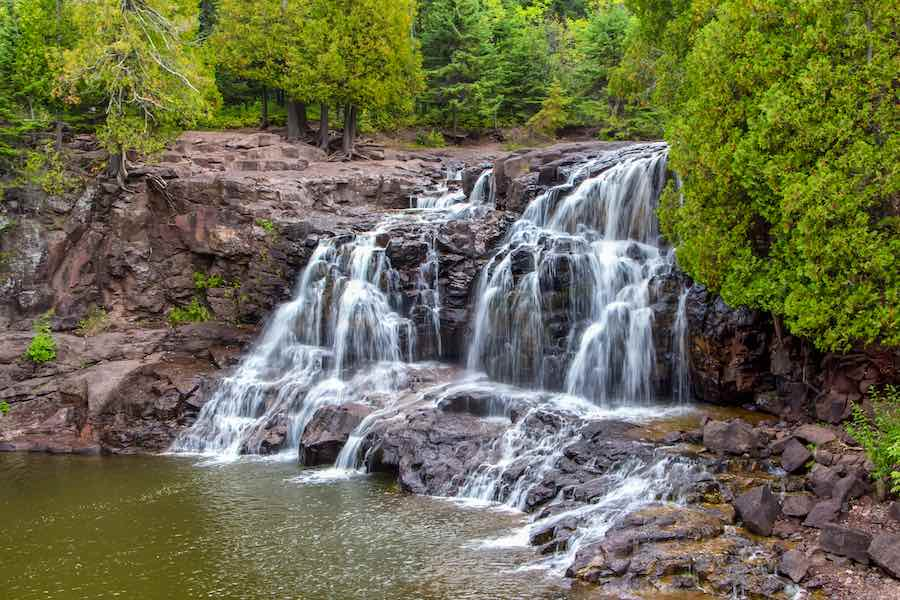Upper Falls of Gooseberry Falls Along Minnesota's North Shore