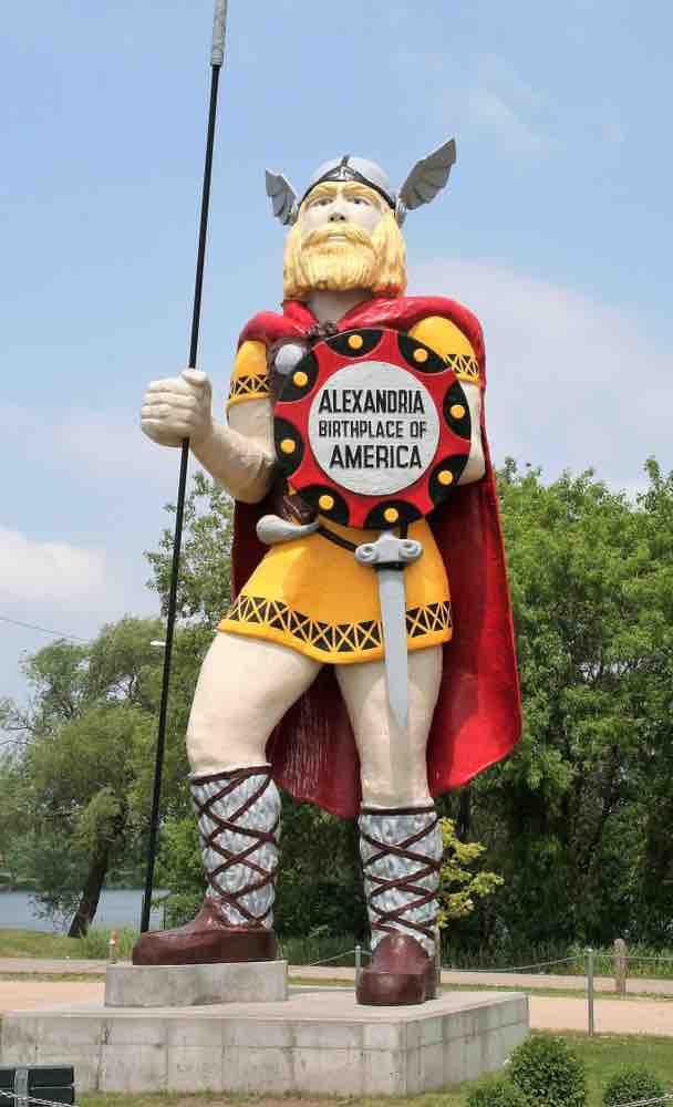 The statue of Big Ole the Viking celebrates the long history of Alexandria, Minnesota.