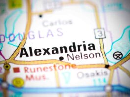 A map image of Alexandria MN.