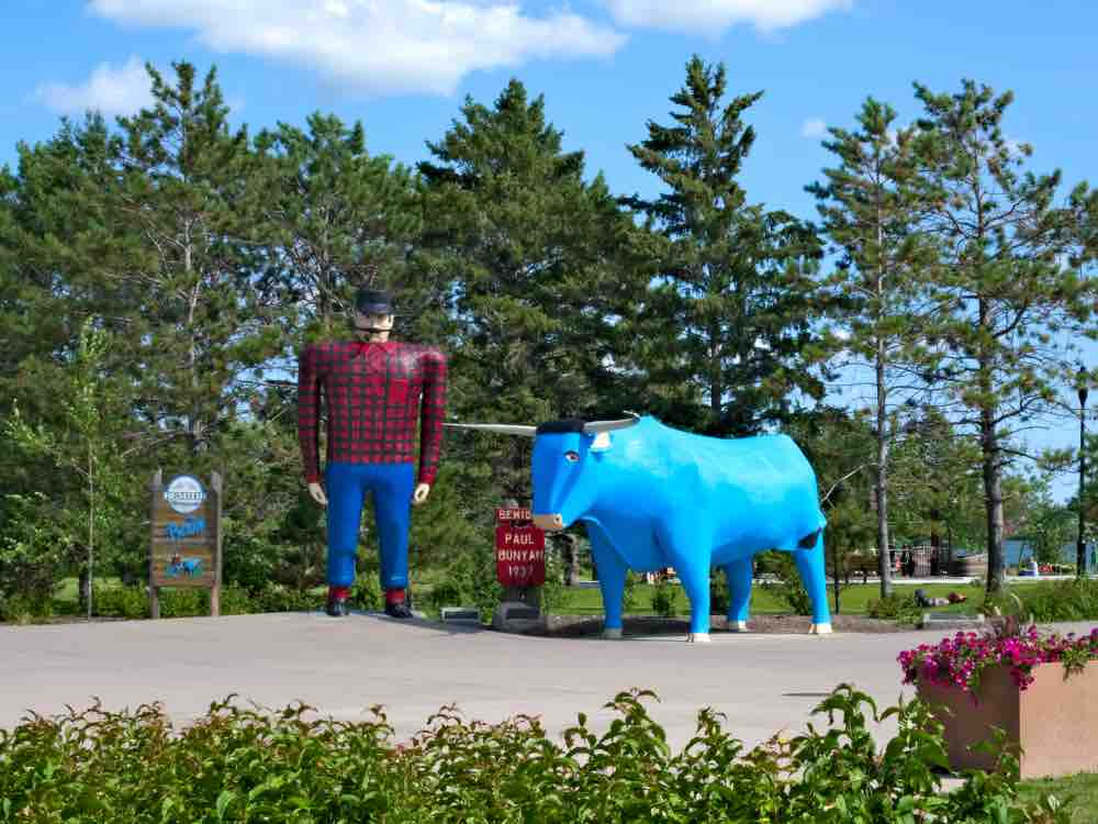 The first roadside colossal is in Bemidji MN; Paul Bunyan and his blue ox.