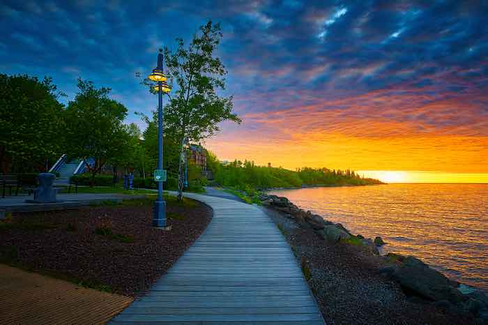 Sunrise early morning at Canal Park, Duluth, Minnesota