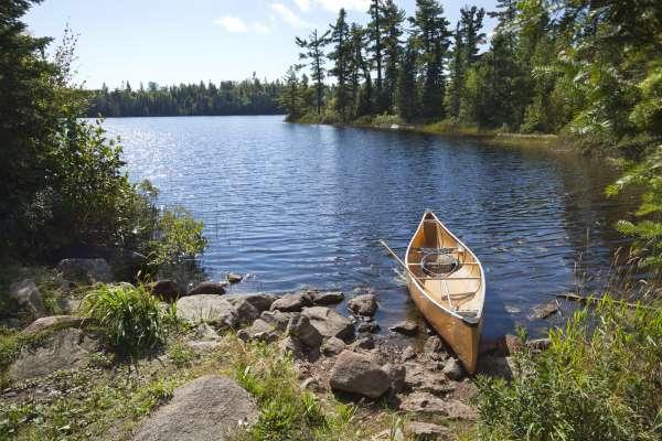 Canoe on the shores of a Minnesota lake