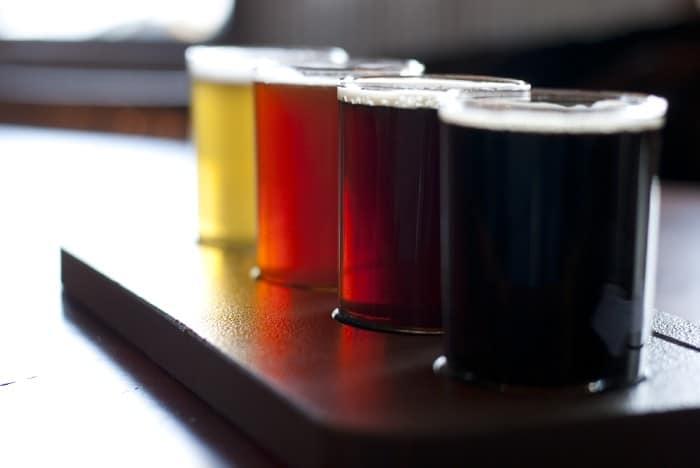 Beer flight at Castle Danger Brewing