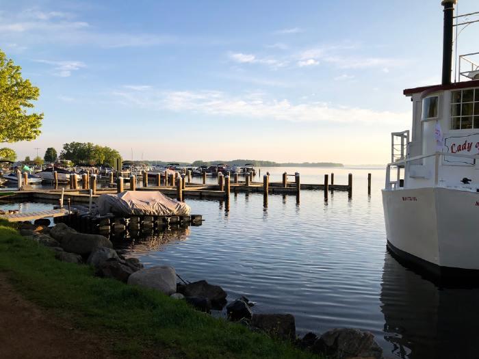 Boat docked in Excelsior on Lake Minnetonka