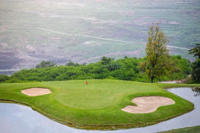 Aerial view of one of the holes on the golf course at Interlachen Country Club -- one of the best golf courses in Minnesota