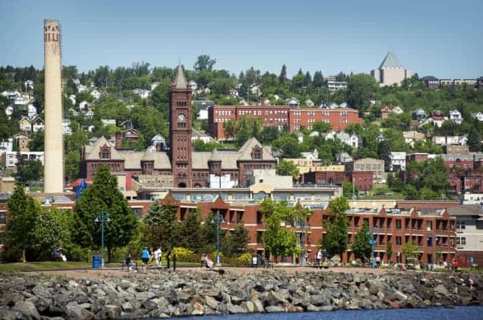 View of Duluth from the water -- one of the best places to visit in Minnesota.