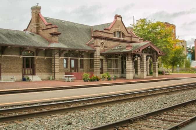 View of the HIstoric Red Wing Train Station in Red WIng -- one of the best places to visit in Minnesota.