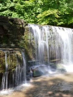 Waterfall over rock outcropping