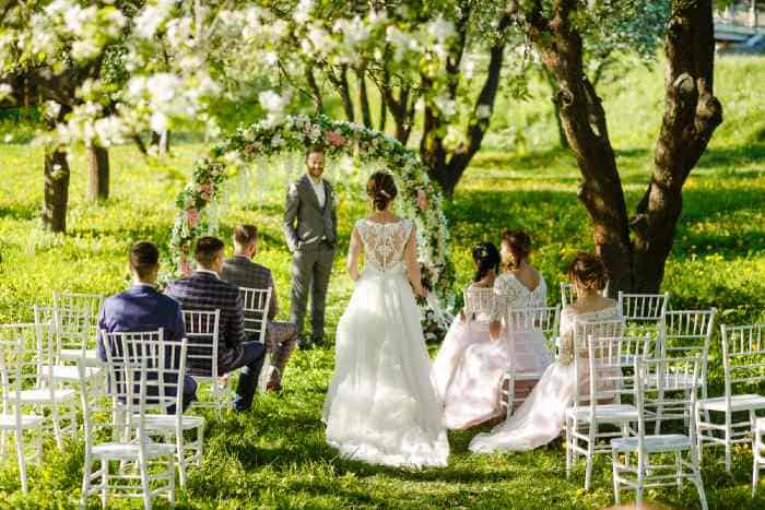 Wedding party under trees in the outdoors.