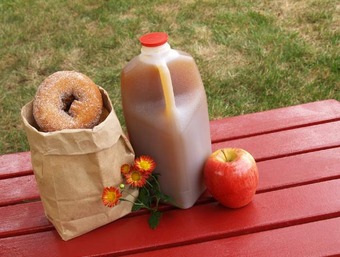 Apple cider, donuts and an apple on a red wooden table.