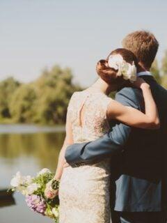 Married couple on lakeshore