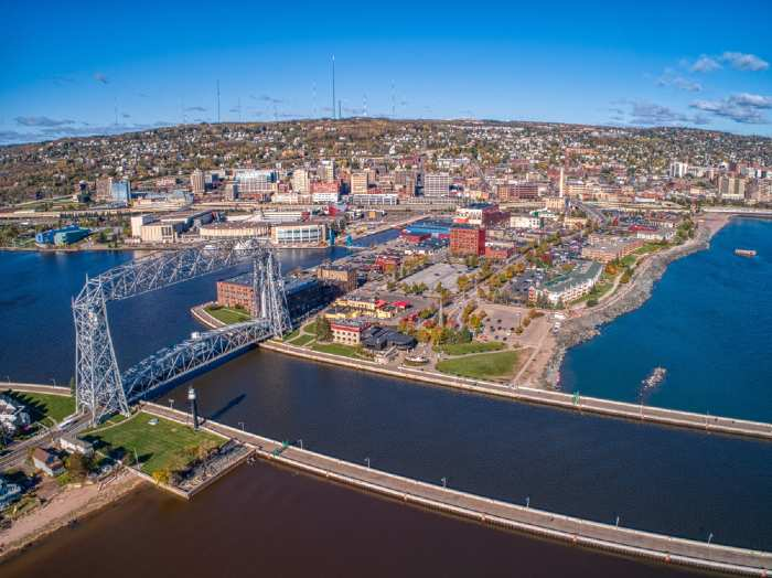 Canal Park Area of Duluth, Minnesota on a sunny day
