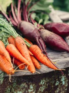 Carrots and beets on wood