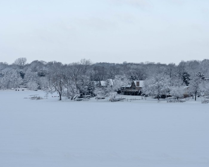 Snowy Prior Lake; one of the best lakes to live on in Minnesota