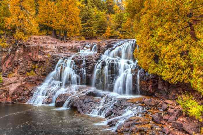 Upper Gooseberry Falls in the fall with colorful leaf foliage