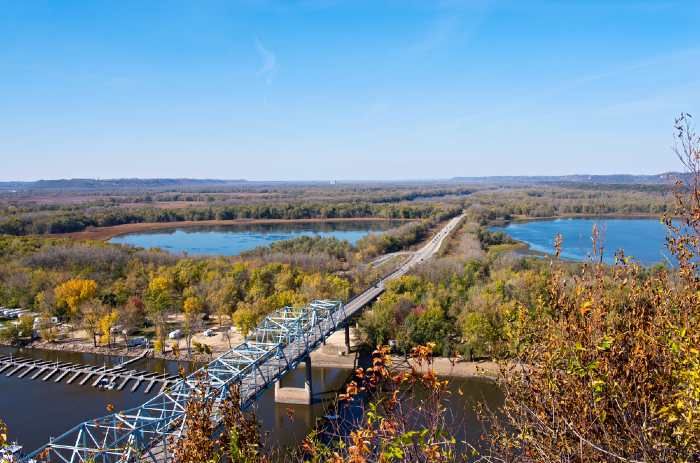 An aerial view of highway 63 bridge crossing Mississippi river and backwaters
