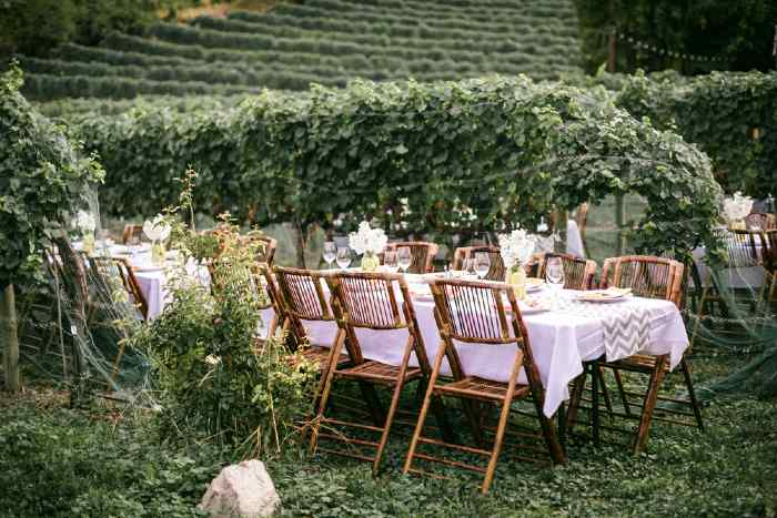 A winery wedding reception tabletop.